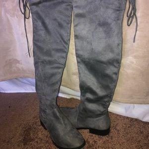 Knee high gray booties